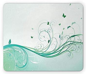 Yanteng Cojín de ratón Turquesa, ilustración Estilo Victoriano Floral Curvy Lines diseño de Mariposa Wave, Cojín de ratón Antideslizante de tamaño ...