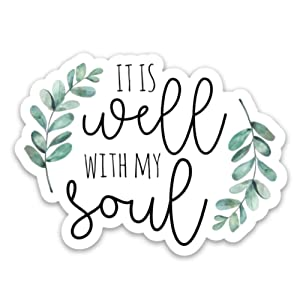 Christian, God, Jesus, faith stickers | It is well with my soul | Waterproof vinyl decals for a laptop, hydro flask, bible, Bible journal etc