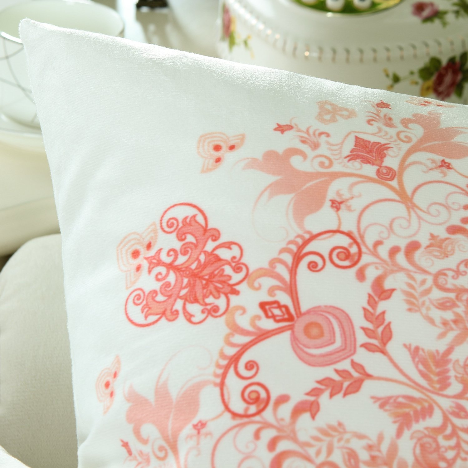 Pack 2 CaliTime Cushion Covers Throw Pillows Cases Shells, Vintage Mandala Floral Peach Pink