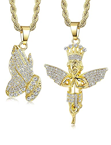 b1c6baf119c5f Subiceto 2Pcs Gold Plated Necklaces for Women Men Prayer Hand Angel Pendant  Necklace Ice Out Hip Hop Rope Chain 24