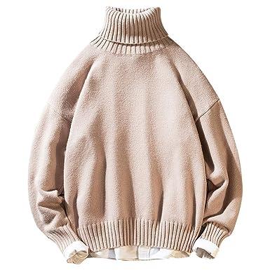 GoldPang Suéter de los Hombres, Casual Flojo Pullover Moda Color ...
