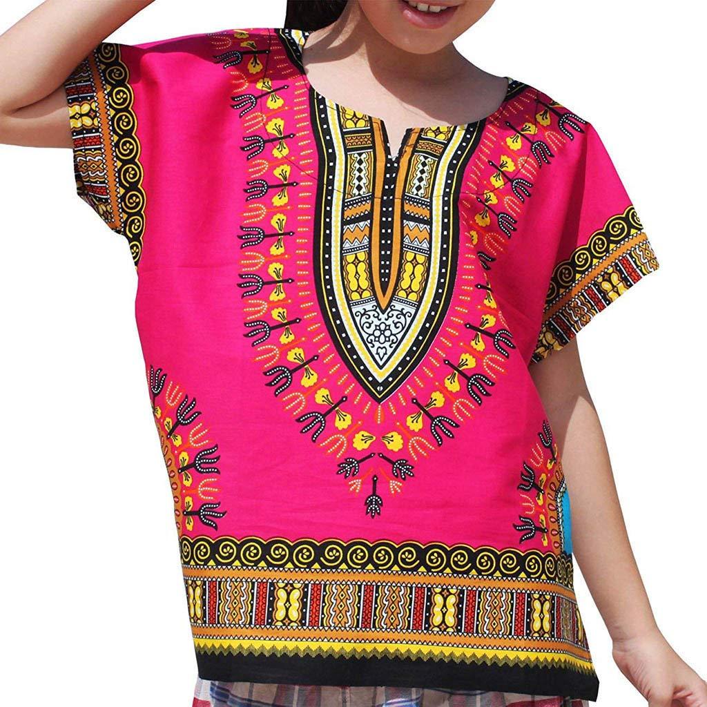LILICAT✈✈✈✈✈✈✈✈✈✈✈✈✈✈✈✈✈✈✈✈✈✈✈✈✈✈✈✈✈✈ (2Y-7Y niños y niñas Camiseta de Estilo étnico de Estilo Africano. Sakkas Asma Convertible Tradicional Cera de impresión Correa Ajustable de la Falda Maxi Vestir