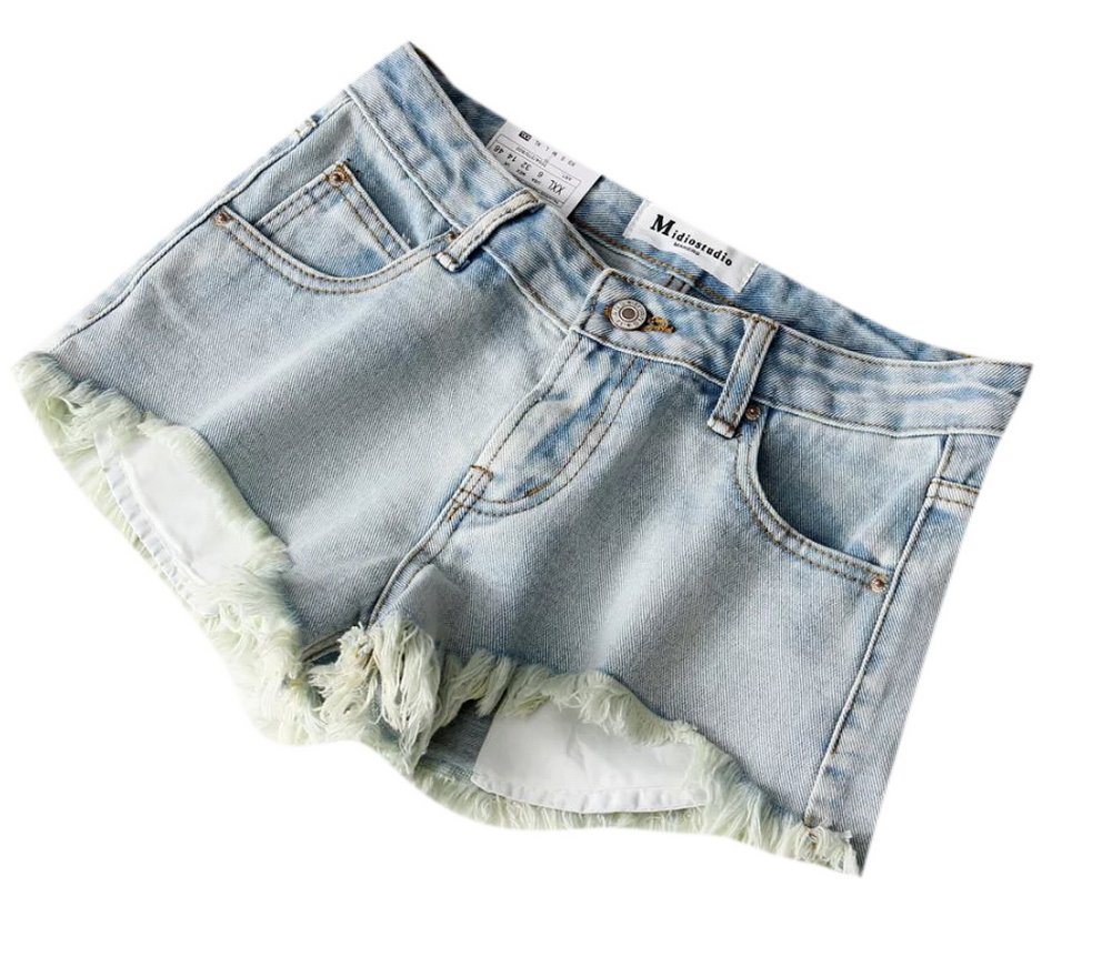 Lingswallow Womens Junior Casual Distressed Low Rise Slim Fit Ripped Denim Jeans Shorts Blue