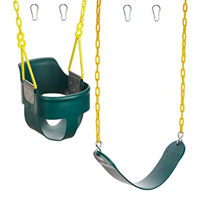Squirrel Products High Back Full Bucket Swing 2.0 with Triangle and Chain Dip and Heavy Duty Swing Seat Combo Pack with Carabiners - Green: Toys & Games