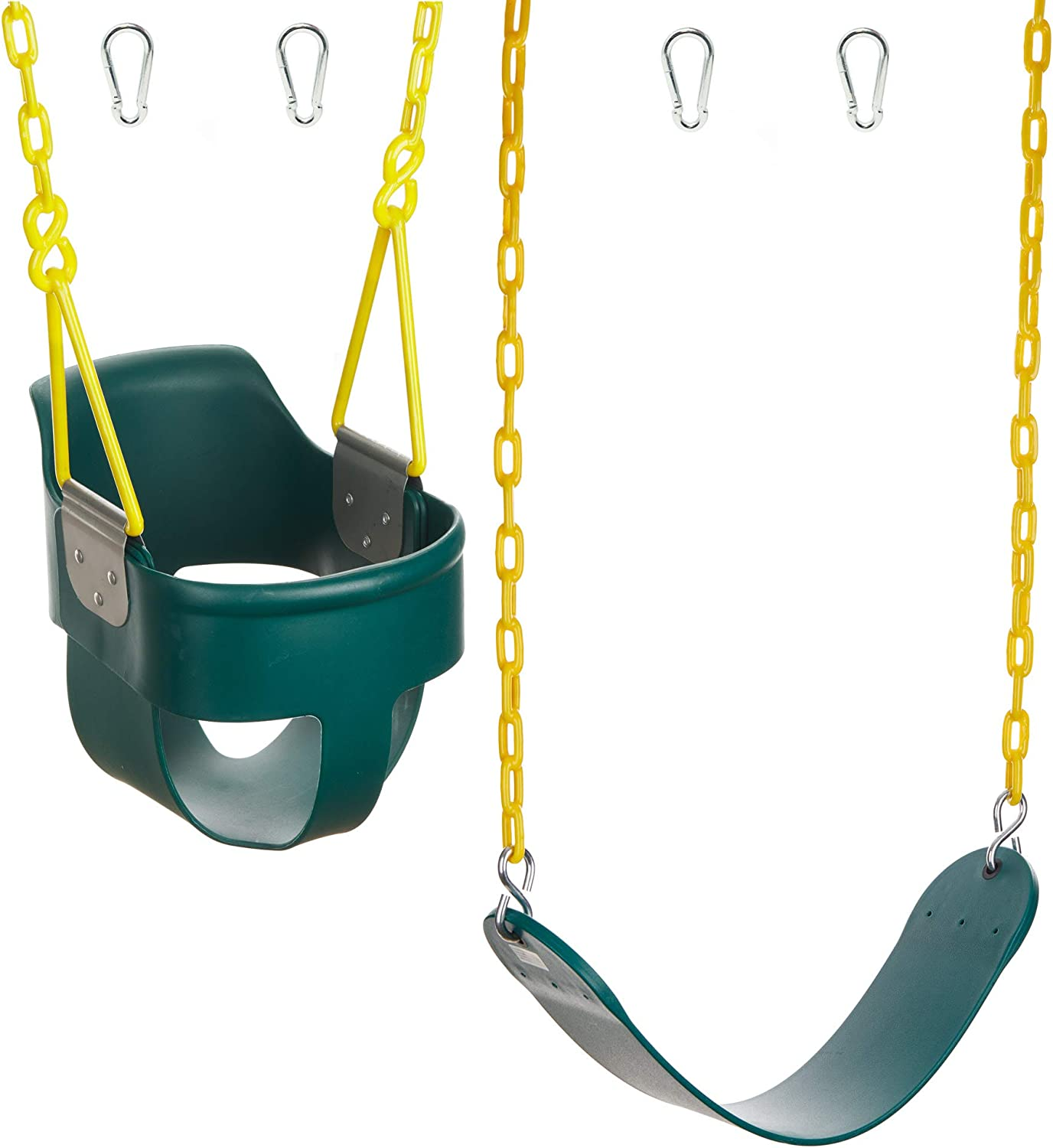 Squirrel Products High Back Full Bucket Swing 2.0 with Triangle and Chain Dip and Heavy Duty Swing Seat Combo Pack with Carabiners - Green
