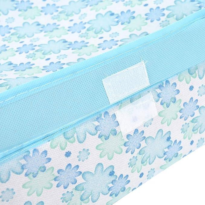 Amazon.com: eDealMax del Estampado de Flores del Sujetador de la ropa Interior Calcetines Lazos plegable Caja de almacenamiento caja Azul: Kitchen & Dining
