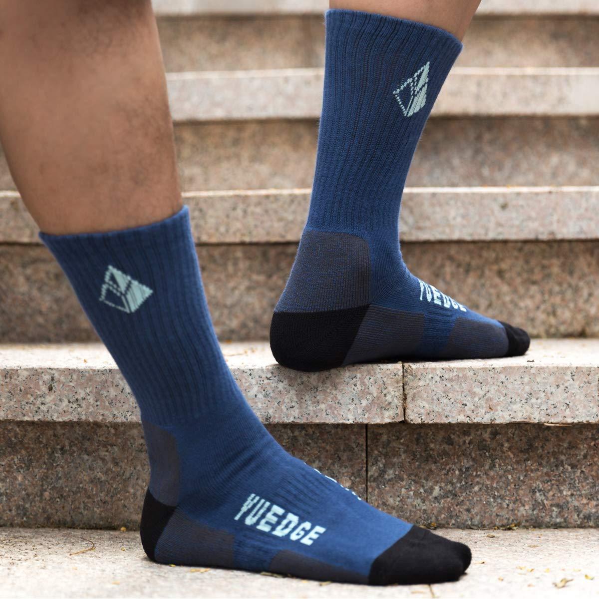 XL YUEDGE 3 Pares Algod/ón Calcetines Cushion Crew Entrenamiento Senderismo Caminar Atl/éticos Deportes Calcetines para Hombres