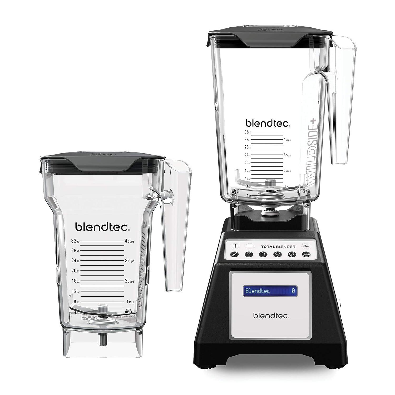 Blendtec Total Classic Original Blender - WildSide+ Jar (90 oz) and FourSide Jar(75 oz) - Professional-Grade Power - 6 Pre-programmed Cycles - 10-speeds - Black