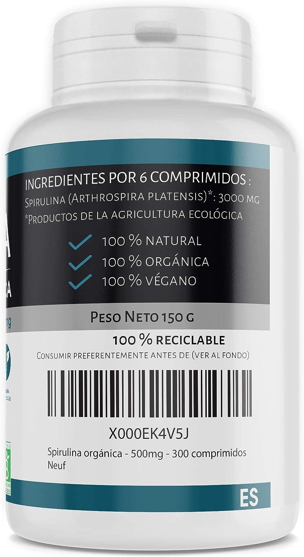 Spirulina orgánica 500mg - 300 comprimidos: Amazon.es: Salud y cuidado personal