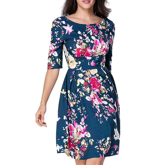Vestidos para mujer, Vestido de noche Maxi Boho Floral Summer Beach Dress Media manga Impresión