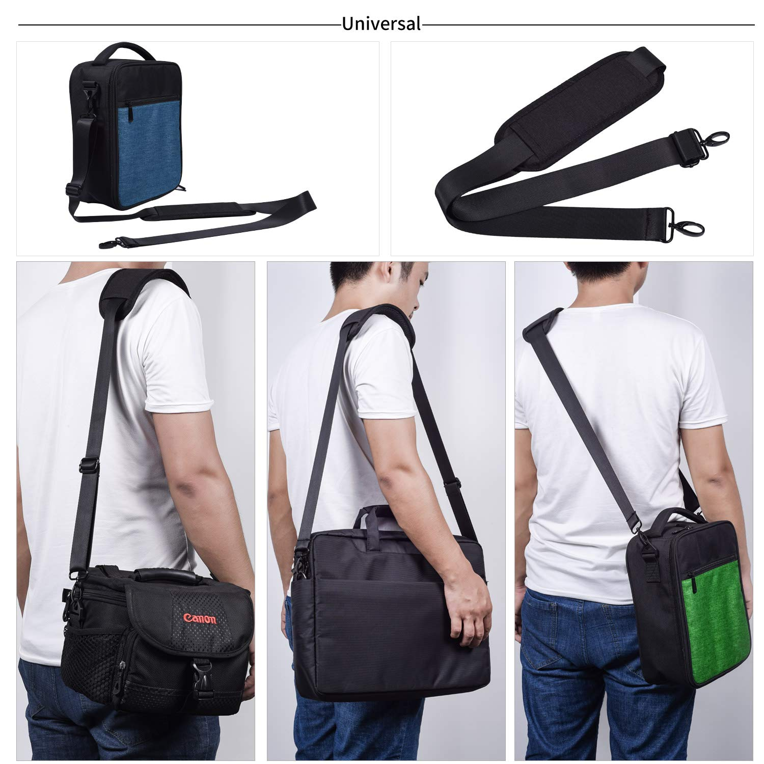 Universal Shoulder Strap Replacement Luggage Duffle Bag Strap Detachable Soft Padded Adjustable Belt with Metal Swivel Hooks Compatible Duffel Briefcase Computer Bags Laptop Case Messenger Bag, Black by CaseBuy (Image #7)