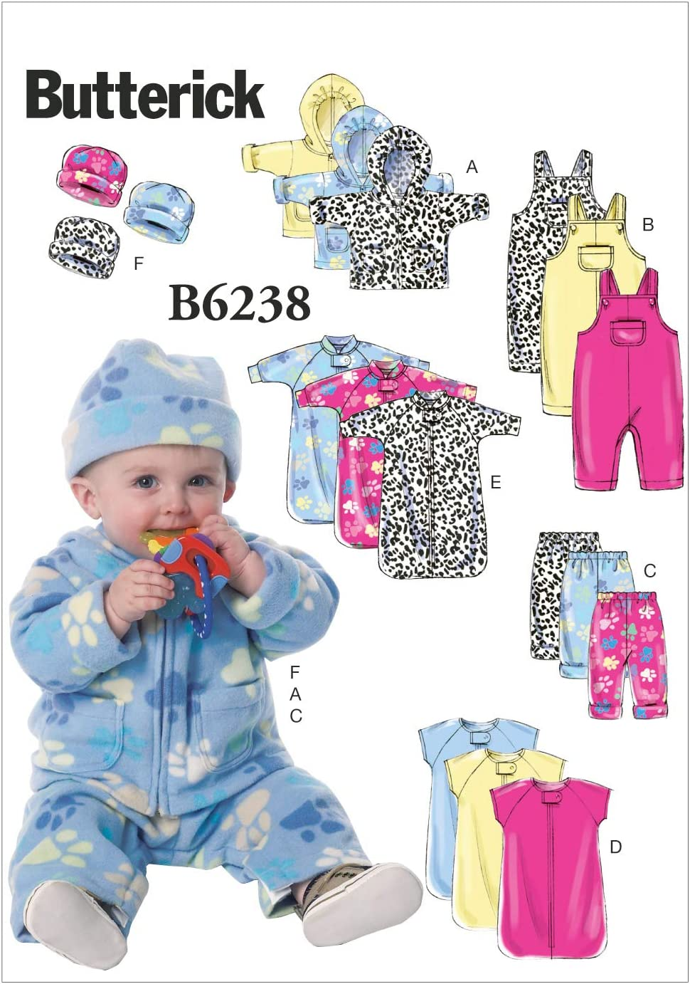 Butterick Patterns B5583 Infants Bunting Shirt Jumpsuit Mittens and Booties NB-S-M Blanket Diaper Cover Bib Size NB0 Hat