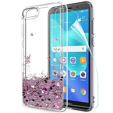 più recente 3daa6 0a6c3 LeYi Custodia Huawei Y5 2018 / Y5 Prime 2018 /Honor 7s Glitter Cover con HD  Pellicola,Brillantini Silicone Gel Liquido Sabbie Mobili Bumper TPU Case ...