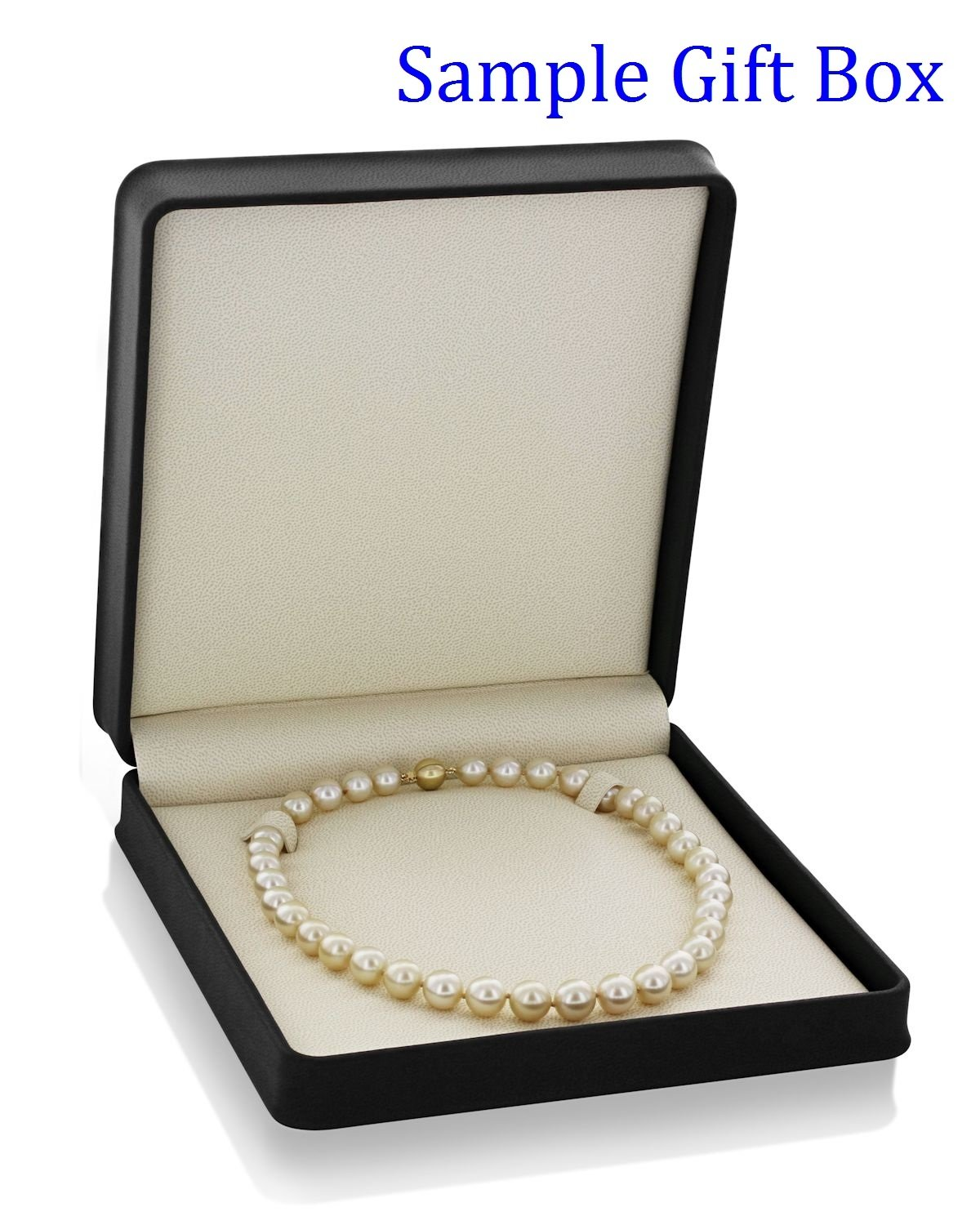THE PEARL SOURCE 14K Gold 9-10mm Round Genuine Golden South Sea Cultured Pearl Necklace in 18'' Princess Length for Women by The Pearl Source (Image #2)