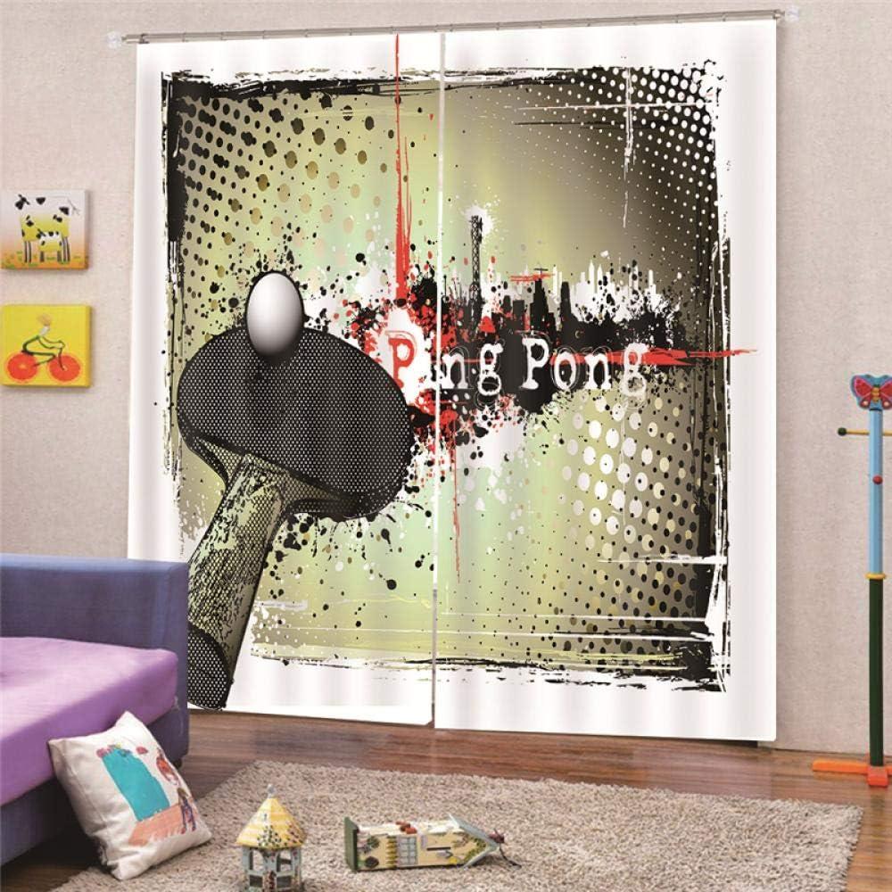 LiYiAT Cortinas Opaca con Ping Pong Aislantes Termicas Reduccion Ruido Decoración De Ventanas 2 Pieza 125X180cm Dormitorio Oficina Habitacion Niños