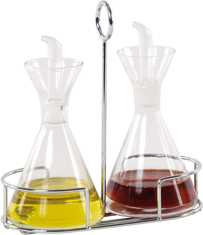 ANDREA HOUSE Set vinagrera y aceitera de Vidrio con Soporte Cromado