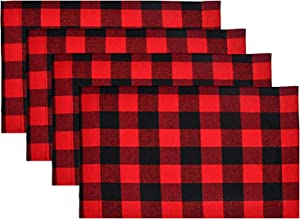 Deloky 4 Set of Red &Black Buffalo Check Plaid mats-Buffalo Plaid Check Placemats,Reversible Cotton Burlap Christmas Placemats for Christmas Table Decorations and Lumberjack Party Supplies