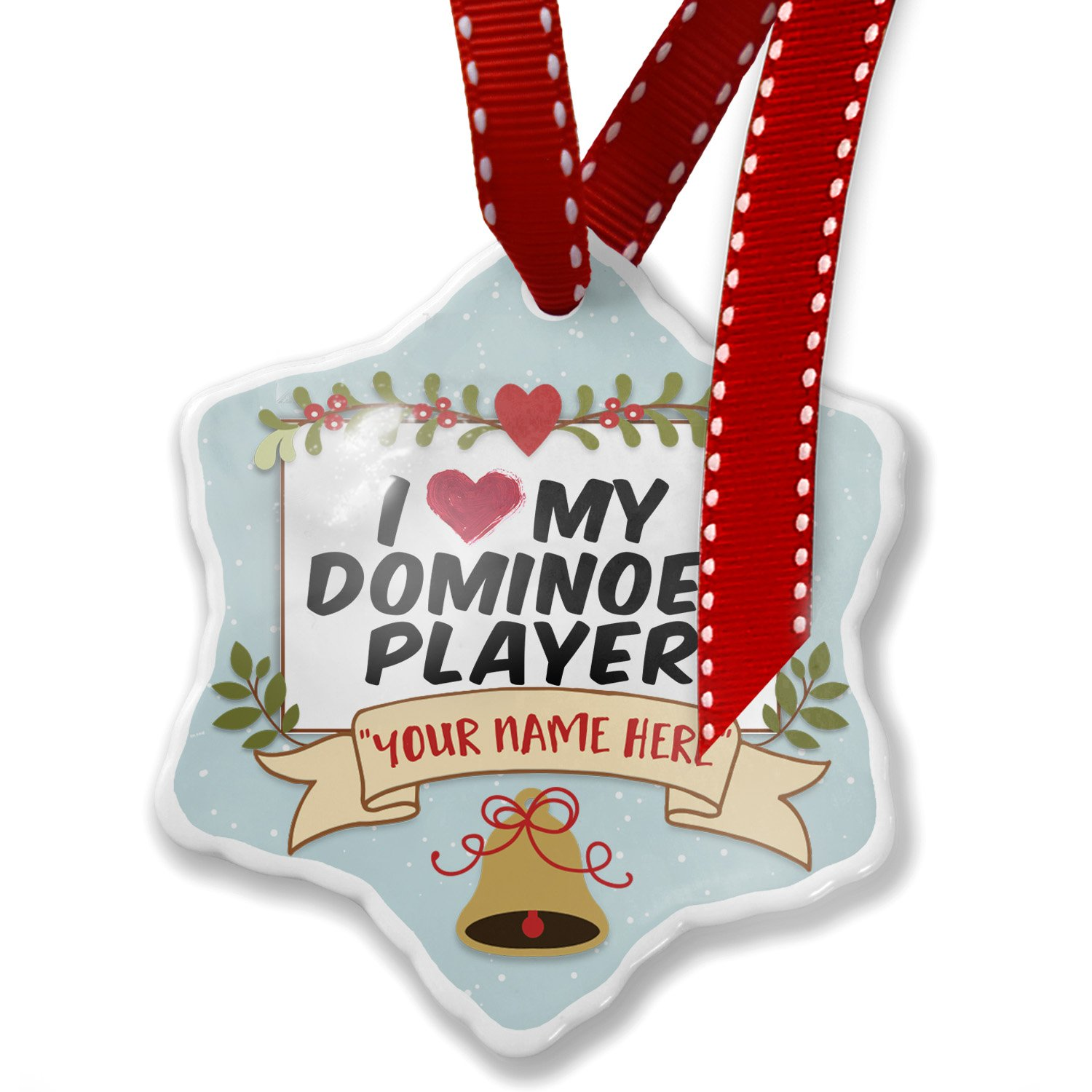 Add Your Own Custom Name, I heart love my Dominoes Player Christmas Ornament NEONBLOND
