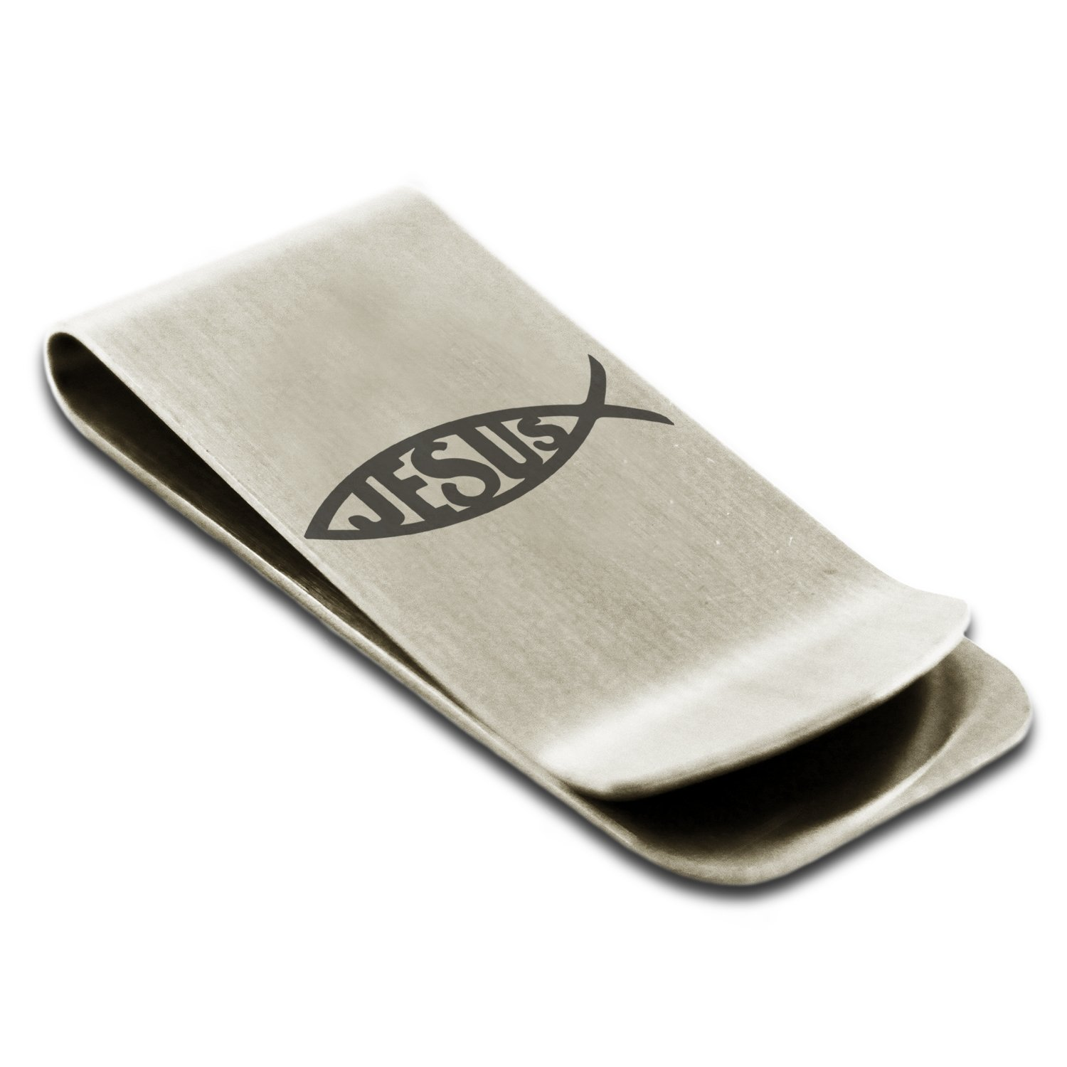 Stainless Steel Ichthus Jesus Fish Symbol Engraved Money Clip Credit Card Holder