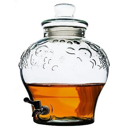 Dispensador de bebidas de calidad de cristal 10 L, con grifo y tapa