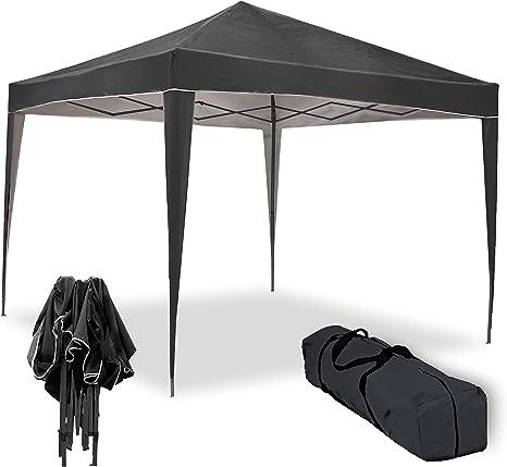 Carpa Plegable 3x3m Master Negra con Tela aluminizada para Reducir la sensación de Calor. Carpa de jardín, terraza, Camping, Playa