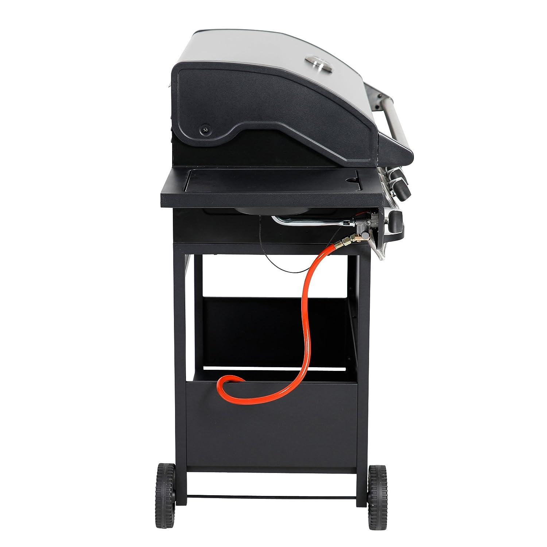 ribelli® Barbacoa de gas bbq Grabadora de acero inoxidable + lado eléctrica de gas barbacoa Negro Acero inoxidable (6 + 1 - Barbacoa de gas): Amazon.es: ...