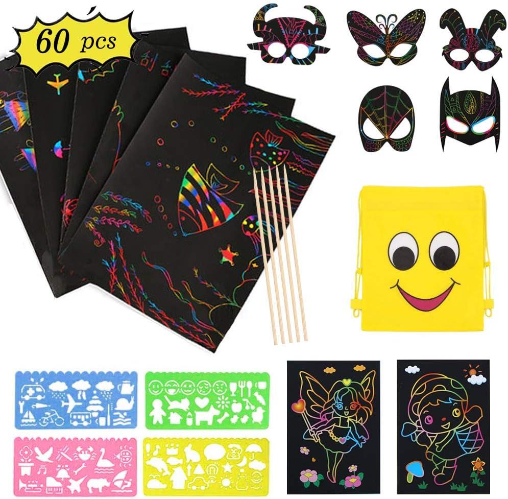 Coolba 52 Blätter Regenbogen Kratzpapier set