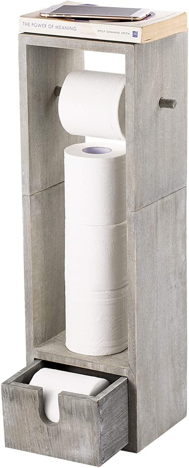 Amazon Com Nex Toilet Paper Holder Bathroom Toilet Tissue Paper Roll Holder Stand And Dispenser With Storage Rustic Gray Green Home Kitchen