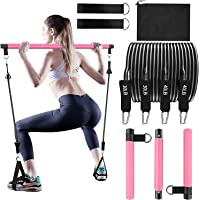 Bbtops Pilates Bar set with Resistance Bands -2x30lbs,2x40lbs,Carrying Bag,3-Section Pilates Bar set with Stackable…