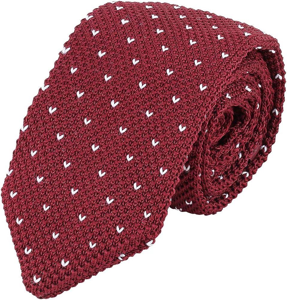 iHomor Mens Skinny Smart Casual Knit Tie Vintage Necktie Linen Pocket Square Set