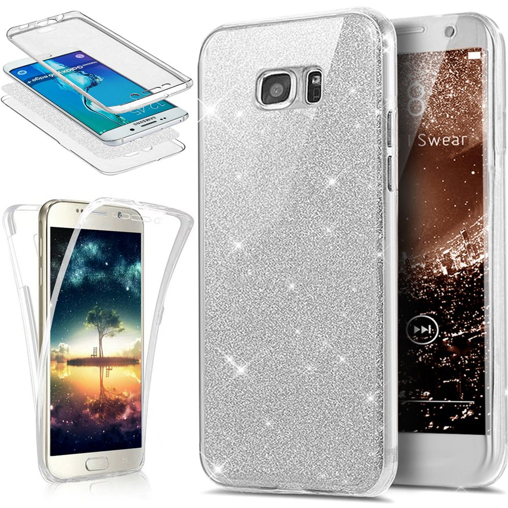 Galaxy S6 Edge Plus Case,ikasus [Full-Body 360 Coverage Protective] Crystal Clear 2in1 Sparkly Shiny Glitter Bling Front Back Full Coverage Soft TPU ...