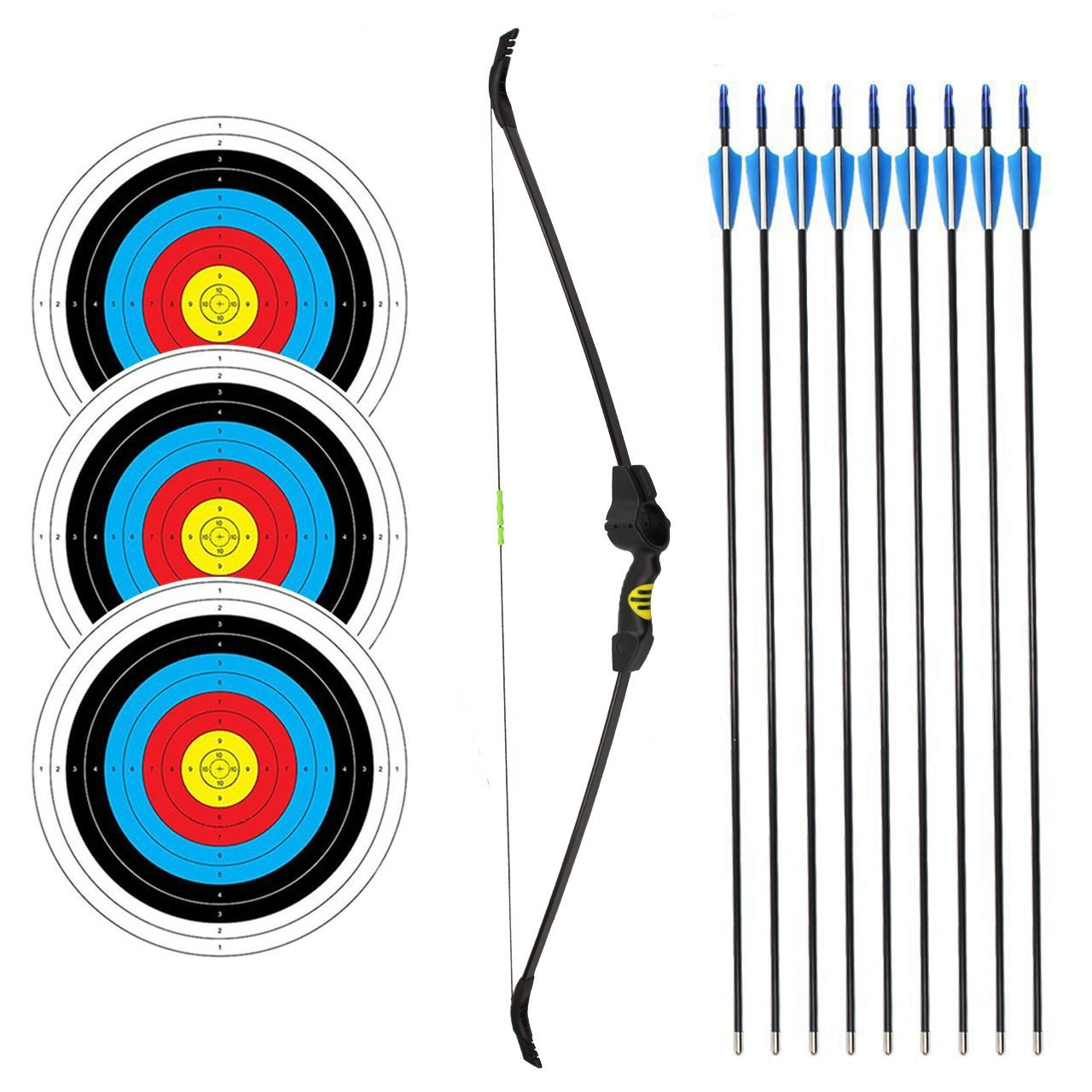 SinoArt Recurve Bow Adjustable Length 48.5''-50'' Draw Weight 14-16 Lb Right and Left Hand with 9 Arrows and 3 Target Faces