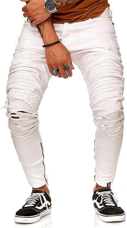FiveSix Herren Denim Destroyed Jeans Zerrissen Hose Slim Fit