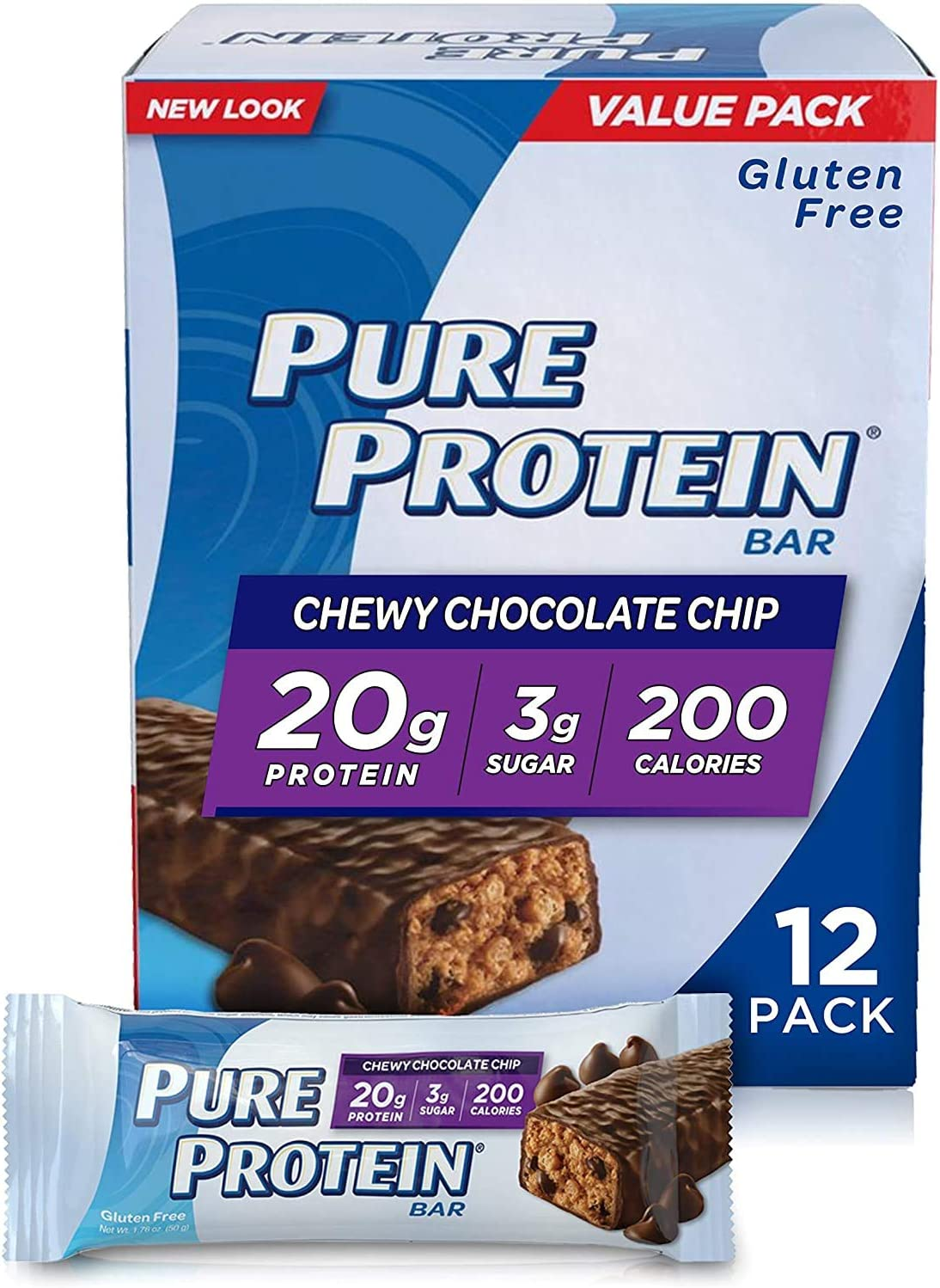 Pure Protein Bars, High Protein, Nutritious Snacks to Support Energy, Low Sugar, Gluten Free, Chewy Chocolate Chip, 1.76oz, 12 Pack