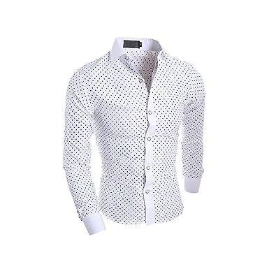 vente chaude en ligne grande variété de styles style attrayant LEOCLOTHO Chemise à Etoile Homme Manches Longues Slim Fit Col Boutonné