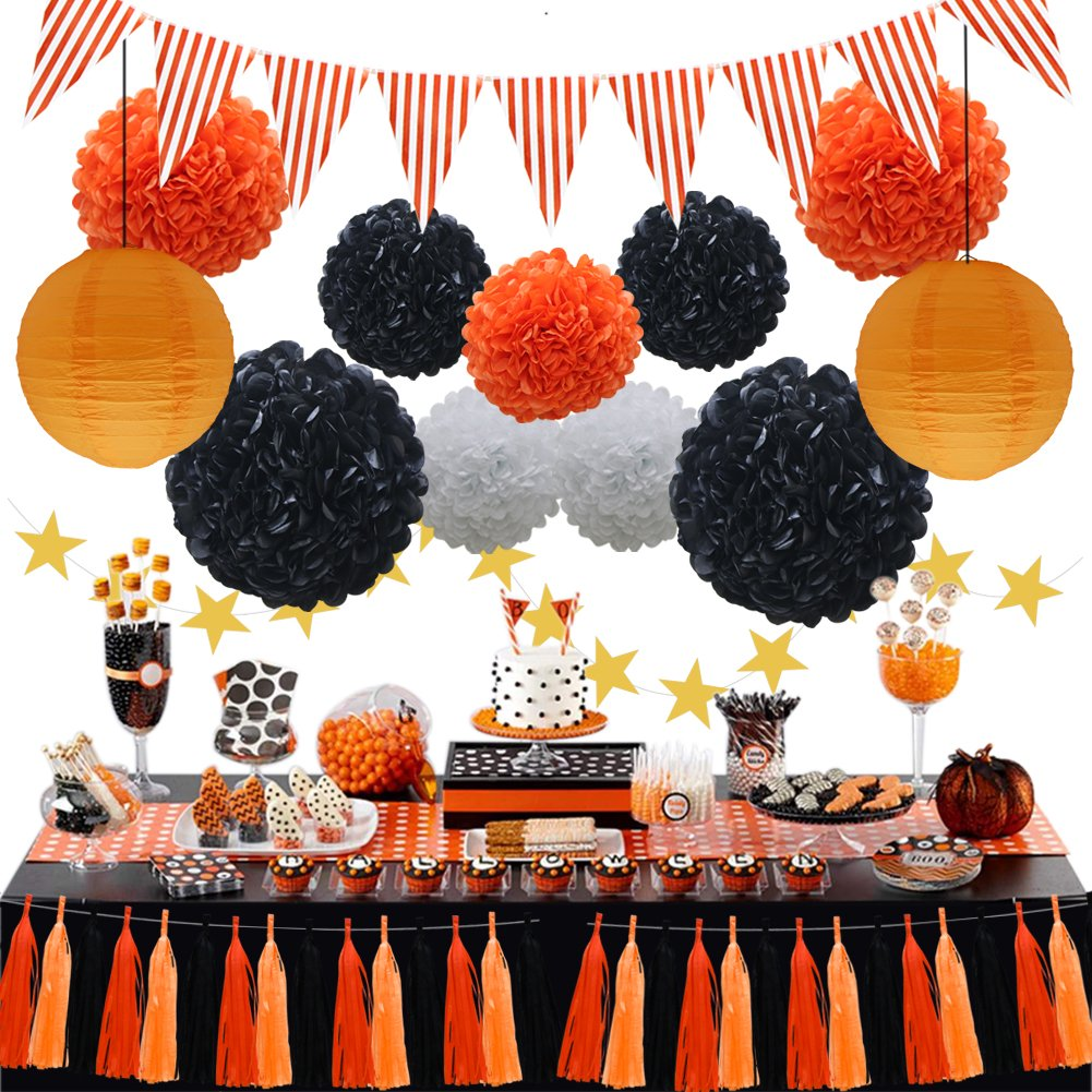 Halloween Party Decorations Supplies Kit, Paper Lanterns, Tassels Hanging Garland Banner, Tissue Pom Poms Flowers, Triangle Flag Bunting for Baby Showers Bridal Birthday Wedding (Orange, Black, White) by KAXIXI
