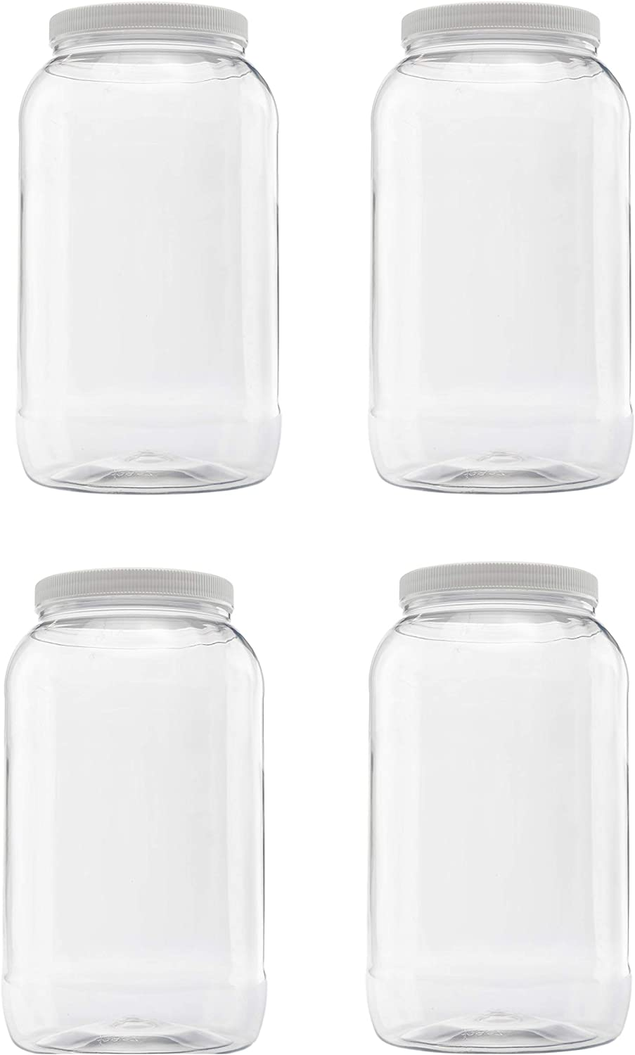 Clearview Containers |128 oz (1 gallon) Plastic Storage Containers w/Lids | Kitchen Canister Set | Food Storage Jars | Airtight Pantry Containers | Flour, Oats, Peanut Butter, Honey, Jams | Set of 4