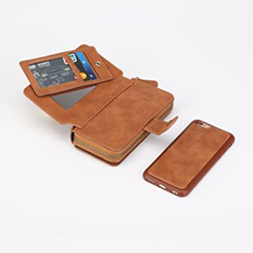 childlikea iPhone 6S Plus/iPhone 6 Plus caso, Premium con cremallera tipo cartera Piel Funda magnética desmontable bolso embrague con negro tapa ...