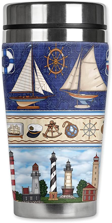 Sailing Art Plates 4301-ZIE Mugzie brand 16-Ounce Travel Mug with Insulated Wetsuit Cover