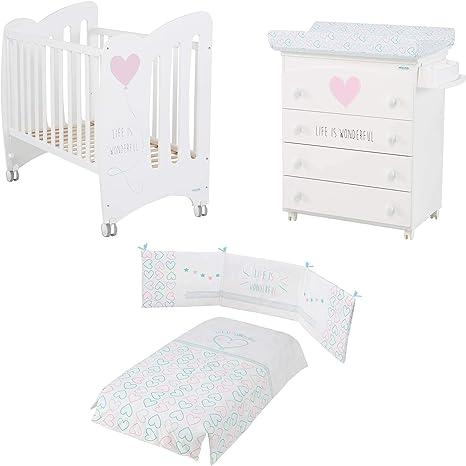 Micuna - Pack Micuna Wonderful: Cuna (60 X 120 Cm.) + Mueble Bañera + Nórdico + Protector Blanco/Rosa: Amazon.es: Bebé