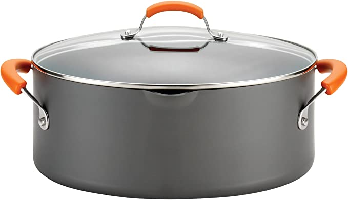 Rachael Ray 87393 Brights Hard Anodized Nonstick Pasta Pot / Stockpot / Stock Pot - 8 Quart, Gray