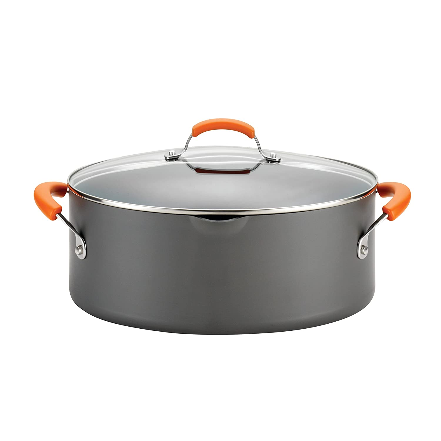 Rachael Ray Hard-AnodizedNonstick 8-Quart Covered Oval Pasta Pot with Pour Spout, Gray with Orange Handles
