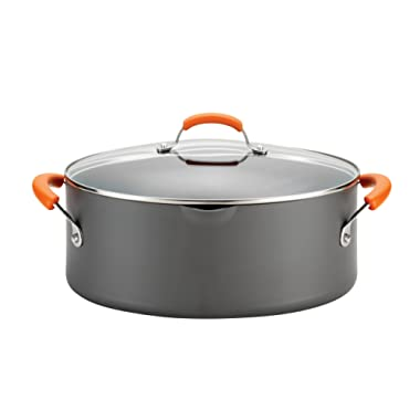Rachael Ray Hard-Anodized Nonstick 8-Quart Covered Oval Pasta Pot with Pour Spout, Gray with Orange Handles