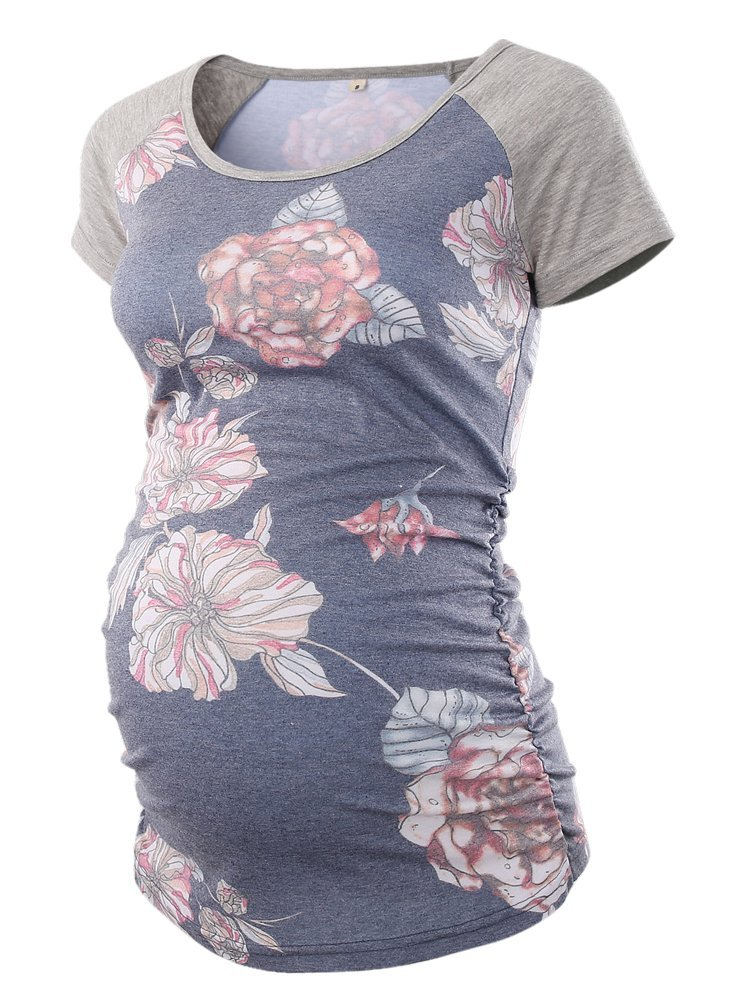 7648d51f BBHoping Women's Baseball Crew Neck Raglan Sleeve Side Ruched Maternity T  Shirts Top Pregnancy Shirt