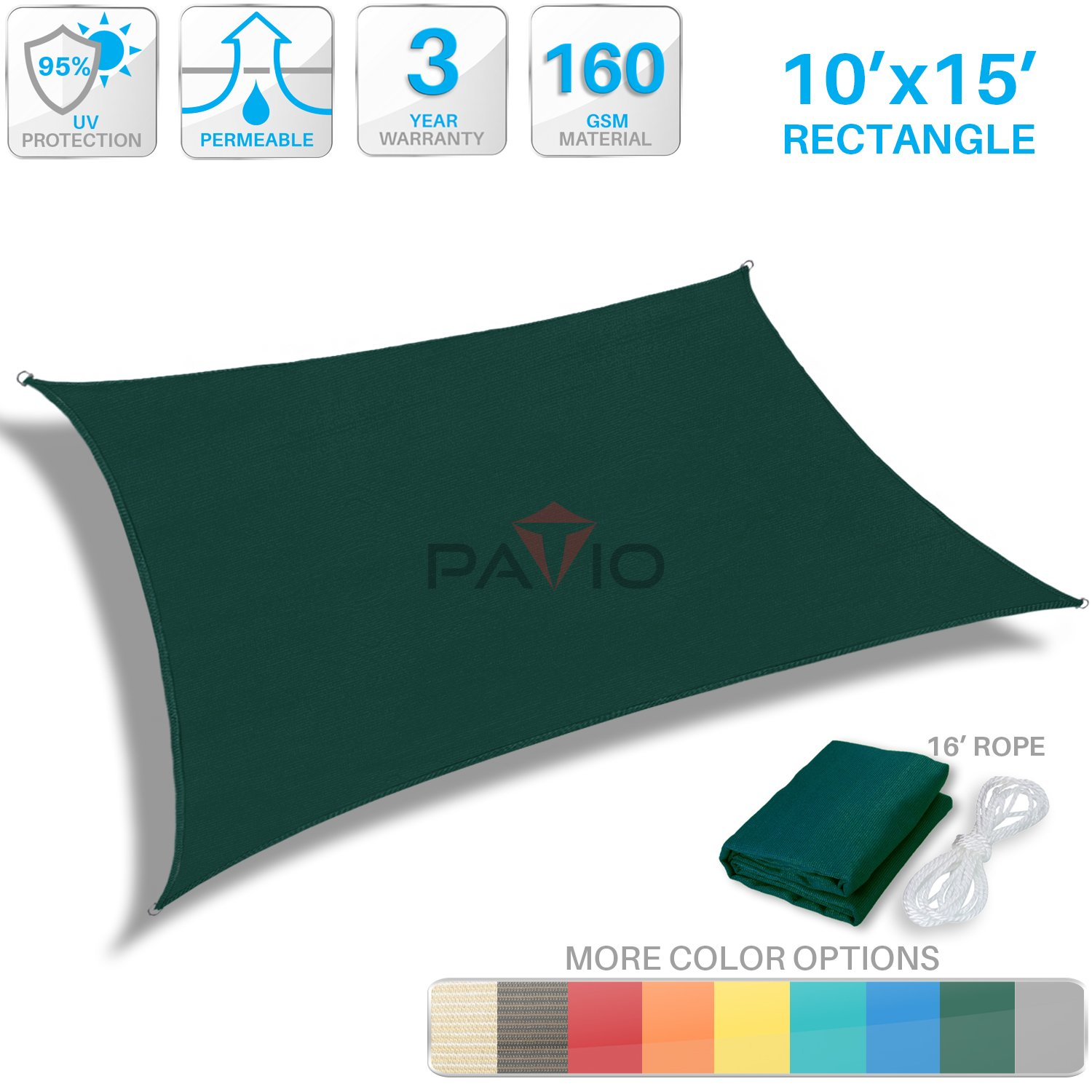 Patio Paradise 10' x 15' Dark green Sun Shade Sail Rectangle Square Canopy - Permeable UV Block Fabric Durable Patio Outdoor - Customized Available