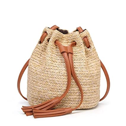 Women Small Beach Bohemian Round Straw Crossbody Bucket Hobo Bags For Lady  Summer Panier Plage Shoulder d9845d5f32c05