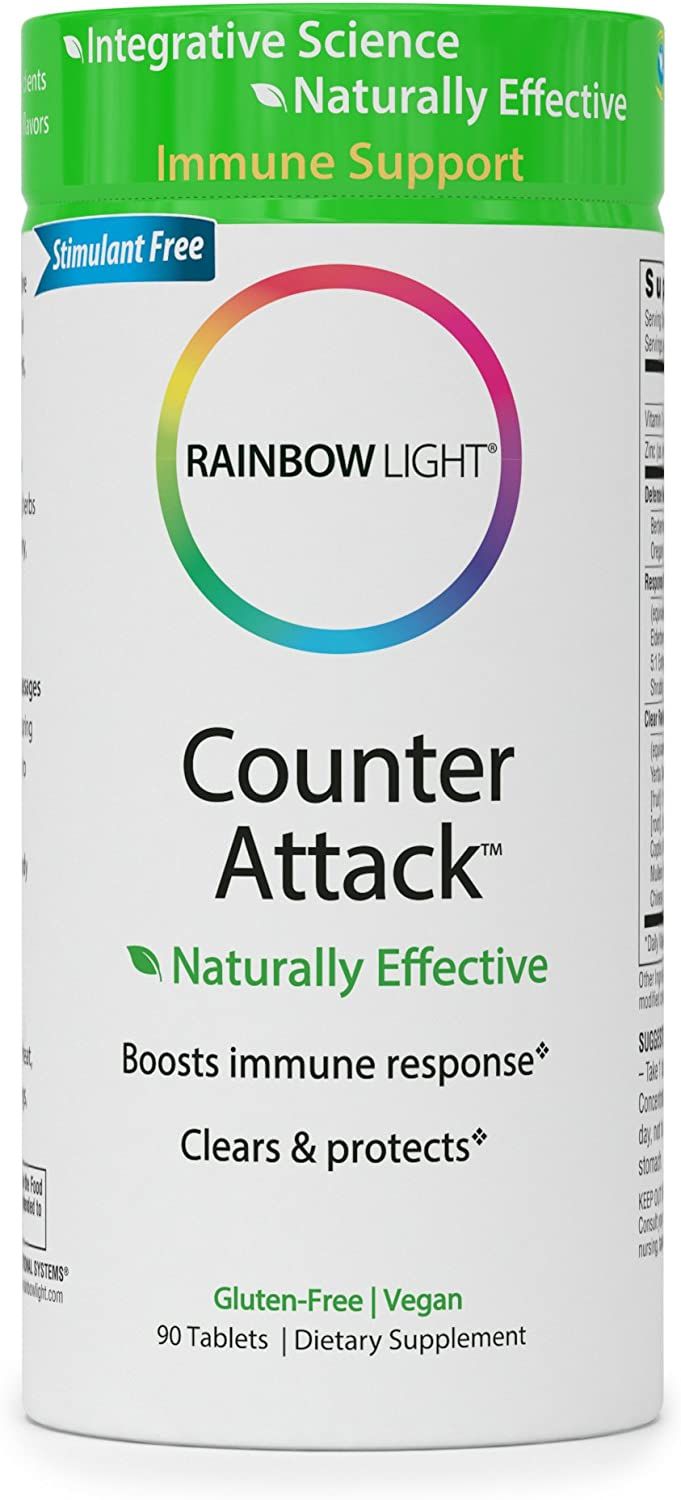 Rainbow Light – Counter Attack – Vitamin C and Zinc Supplement Vegan and Gluten-Free Herbal Blend Provides Immune Support, Boosts Immune System Health and Response – 90 Tablets