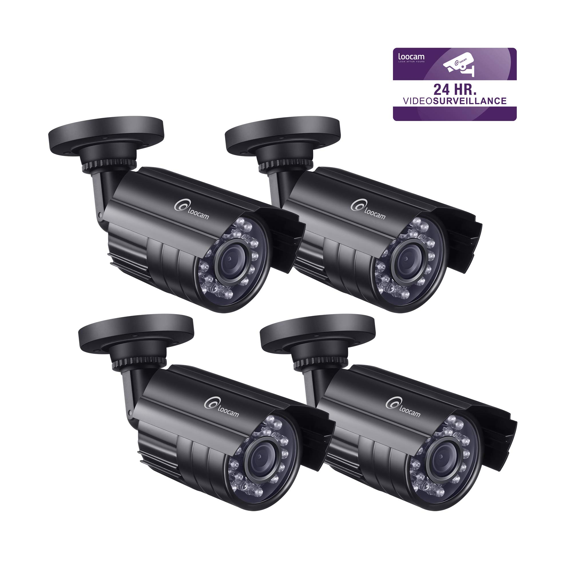 Loocam Fake Security Camera Imitation Bullet Surveillance Camera with Decoy Blinking Red LED Indoor and Outdoor for Home and Business(4 Pack) by Loocam