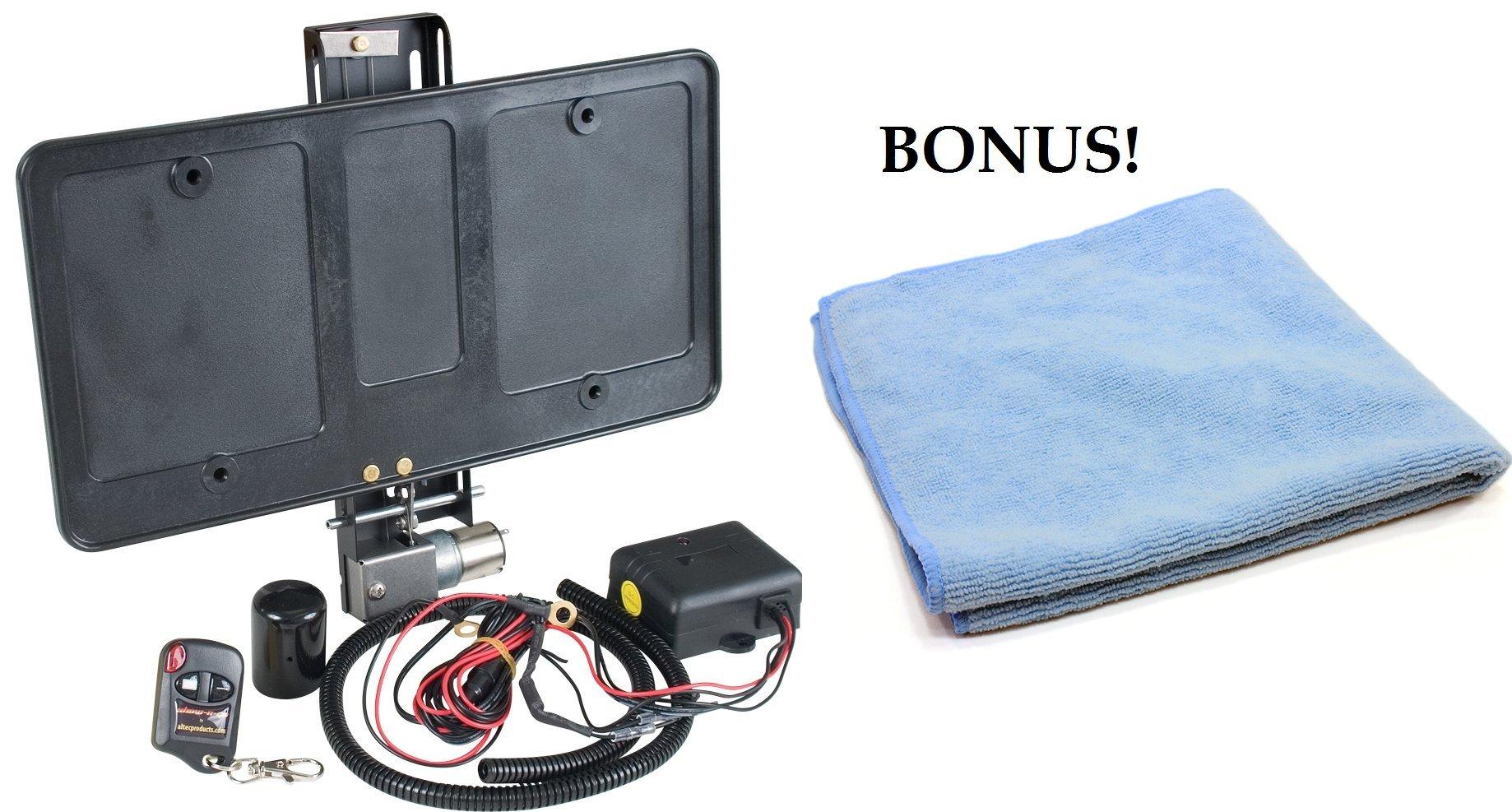 Show N Go Electric Powered License Plate Frame w/ BONUS Microfiber Towel