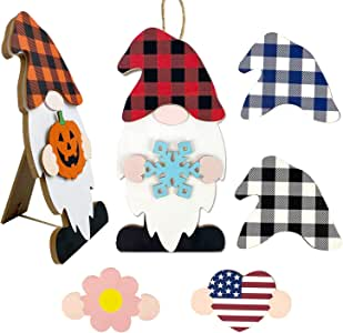Winder DIY Wooden Interchangeable Gnome Signs, Tabletop Decor & Wall Hanger with 8-PC Seasonal Holiday Gnome Sweet Home Signs for Garden, Christmas, Halloween, National Day & Spring